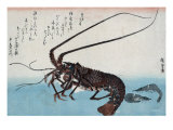 Shrimp and Lobster  Japanese Wood-Cut Print