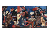 Doctor Huatuo Attending to the Warrior Guanyu's Arm Wound  Japanese Wood-Cut Print
