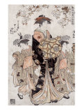 The Courtesan Chozan of Chojiya  Japanese Wood-Cut Print