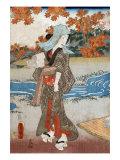 Woman beneath Maple Leaves  Japanese Wood-Cut Print