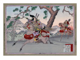 Warriors on Horseback  Japanese Wood-Cut Print
