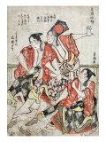 Three Men at a Brothel  Japanese Wood-Cut Print