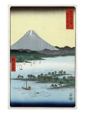 Pine Beach at Miho in Suruga with View of Mount Fuji  Japanese Wood-Cut Print