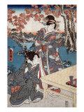 Court Ladies Gathering Maple Leaves  Japanese Wood-Cut Print