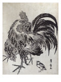 Hen and Chick  Japanese Wood-Cut Print
