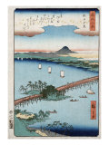 Long Bridge and Boats on a River  Japanese Wood-Cut Print