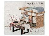 Plum Branches beside Bookshelves and Desk  Japanese Wood-Cut Print