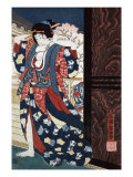 Courtesan Fixing Her Hair  Japanese Wood-Cut Print