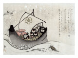 Treasure Ship with Crane and Tortoise  Japanese Wood-Cut Print
