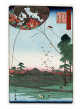 Distant View of Akiba of Enshu: Kites of Fukuroi  Japanese Wood-Cut Print