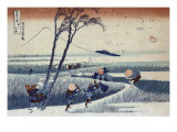 Strong Wind Blows away Belongings with Mount Fuji in the Back  Japanese Wood-Cut Print