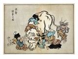 Blind Monks Examining an Elephant  Japanese Wood-Cut Print
