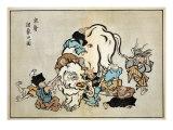 Blind Monks Examining an Elephant  Japanese Wood-Cut Print