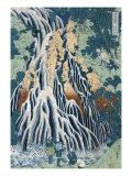 Kirifuri Falls at Mount Kurokami in Shimosuke  Japanese Wood-Cut Print