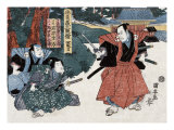 Act Four: Three Actors  One Brandishing a Sword  Japanese Wood-Cut Print