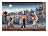 Man and Two Women Walking at Night under a Full Moon  Japanese Wood-Cut Print