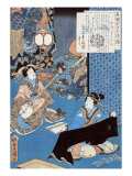 Tale of the Courtesan Komurasaki  Japanese Wood-Cut Print