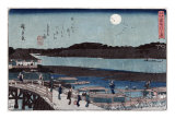 Moon over Sumida River  Japanese Wood-Cut Print