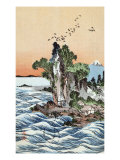 Seacoast Village Shichirigahama with View of Mount Fuji  Japanese Wood-Cut Print