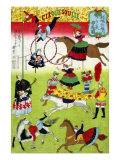 Big French Circus on the Grounds of Yasukuni Shrine  Japanese Wood-Cut Print