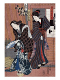 Two Women  one Holding a Large Bowl  Japanese Wood-Cut Print