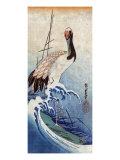 Crane in Waves  Japanese Wood-Cut Print