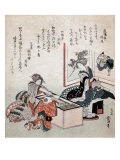 The First Tea of the Year  Japanese Wood-Cut Print