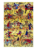 Melange of Horse-riders  Japanese Wood-Cut Print