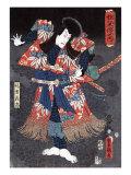 Actor Ichikawa Danjuro VIII as Kaja Yoshitaka  Japanese Wood-Cut Print