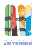 Jackson Hole  Wyoming  Snowboards in the Snow