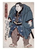 The Sumo Wrestler Kagamiiwa Hamanosuke  Japanese Wood-Cut Print