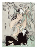 Woman Stands on another Woman to Habng a Kimono  Japanese Wood-Cut Print