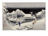 Travellers in the Snow at the Kanbara Station  Japanese Wood-Cut Print