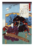 Warrior Sneaks up behind a Koto Musician  Japanese Wood-Cut Print