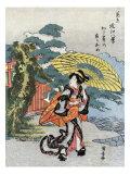 Evening Rain at Karasaki  Japanese Wood-Cut Print