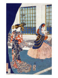Courtesans in a Western-style Building of Yokohama  Japanese Wood-Cut Print