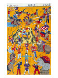 Big Circus  Japanese Wood-Cut Print