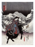 Woman Riding a Bull with a Village in the Background  Japanese Wood-Cut Print
