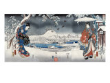 Modern Version of the Tale of Genji in Snow Scenes  Japanese Wood-Cut Print