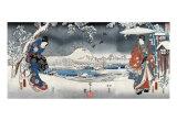 Modern Version of the Tale of Genji in Snow Scenes  Japanese Wood-Cut Print
