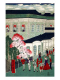 Steam Train Coming from Shimbashi  Japanese Wood-Cut Print
