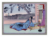 Woman Lying on the Floor Playing an Instrument  Japanese Wood-Cut Print