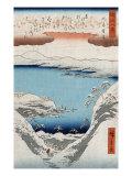 Evening Snow at Hira  Japanese Wood-Cut Print