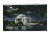 Washington DC  Exterior View of the Jefferson Memorial at Night