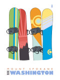Mount Spokane  Washington  Snowboards in the Snow