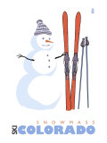 Snowmass  Colorado  Snowman with Skis