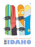 Schweitzer Mountain  Idaho  Snowboards in the Snow