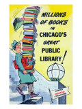 Chicago  Illinois  Man Leaving from Chicago Public Library with Lots of Books