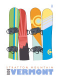 Stratton Mountain  Vermont  Snowboards in the Snow