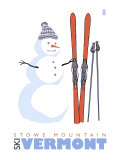 Stowe Mountain  Vermont  Snowman with Skis